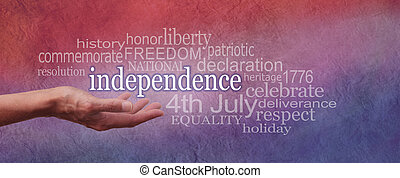 Independence Day banner - Female hand open palm upwards with...