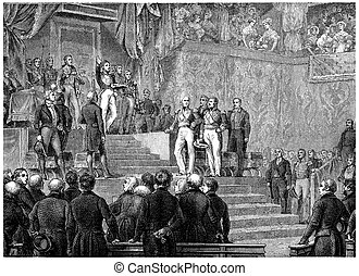 Louis-Philippe oath before the Chamber of Deputies, vintage...