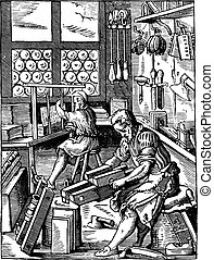 Bindery, severe in the sixteenth century, vintage engraving...