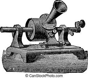 Edison phonograph, vintage engraving - Edison phonograph,...