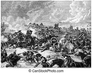Battle of Waterloo Ney charge the land of cuirassiers,...