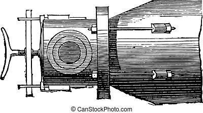 Gas retort, plan, vintage engraving.