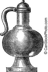 Kettle fifteenth century, vintage engraving - Kettle...