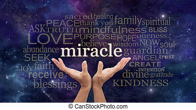 Requesting a Miracle Word Cloud - Female hands stretched up...