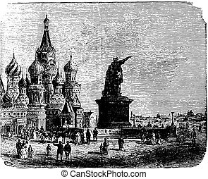 Church of St. Basil in Moscow, vintage engraving.