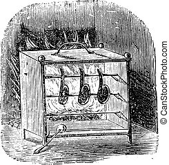 Stove grill (open), vintage engraving.