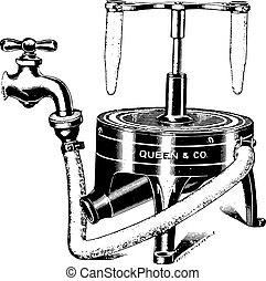 Water centrifuge, vintage engraving.