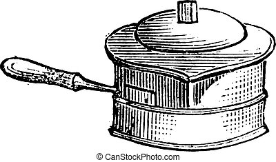 Casserole for liquid cooking on the stove for lunch, vintage engraving.