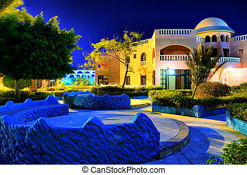 night hdr photo from egypt resort saturated mystic colors