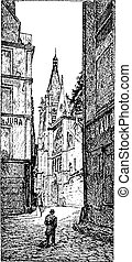 The area around the church, vintage engraving.