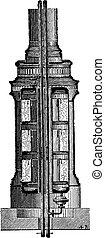 Vertical stove vapor barrier, vintage engraving. - Vertical...