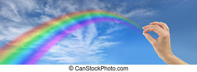 Making a Rainbow for You - Big blue sky with fluffy clouds...