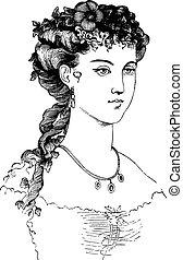 Evening coiffure, vintage engraving - Evening coiffure,...