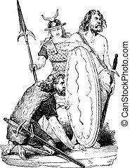 vendange, Gaulois, soldats, gravure
