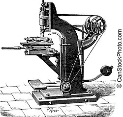 Shaping machine shoes, vintage engraving.