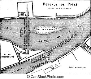 Map showing the composition of the works of a reservoir, vintage engraving.