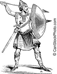 Norman soldier, vintage engraving - Norman soldier, vintage...