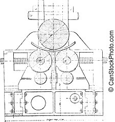 Bending machine, Section transverse to the cylinder axis,...