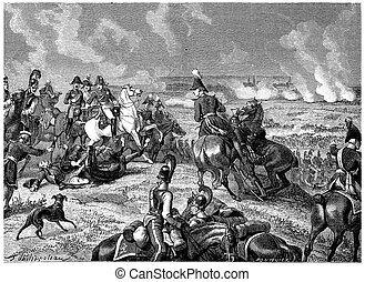 Battle of Dresden, Death of Moreau, vintage engraving -...