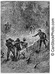 Black dragged towards the Fitzroy River, vintage engraving