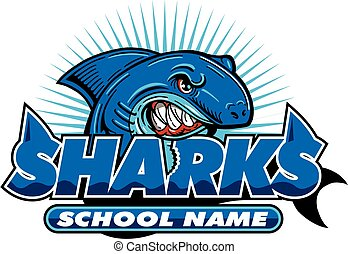 sharks team design with shark mascot