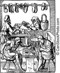 Shoemaking workshop, vintage engraving. - Shoemaking...