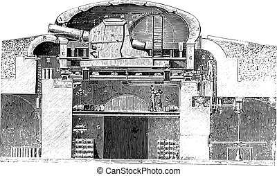 Armored turret cast hard Gruson system, vintage engraving -...