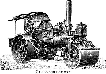 Steam roller for rolling pavement, vintage engraving. -...