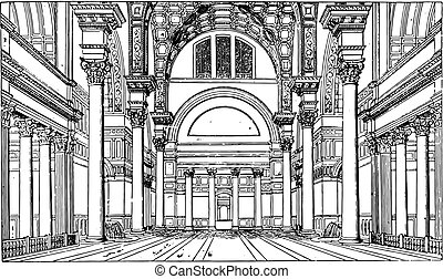 Hall of the Baths of Caracalla, vintage engraving.