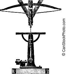 Scroll saw or jig, vintage engraving. - Scroll saw or jig,...