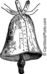 Bell of the sixth century, vintage engraving.