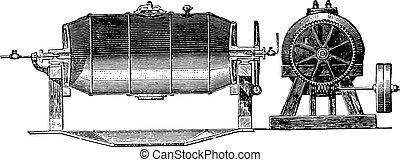 Boiler, vintage engraving. - Boiler, E. Transmission by...
