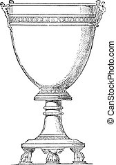 Cup mounted on his foot, vintage engraving.