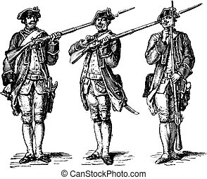 Load the gun, after the Gravelot (1776), vintage engraving.