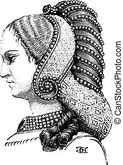 Profile of the previous hairstyle, vintage engraving. -...