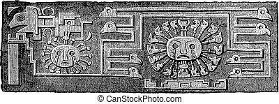 monolito, vendimia, detalle, otro, puerta, tiahuanaco,...