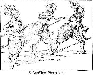 Pikemen under Henri IV, vintage engraving. - Pikemen under...