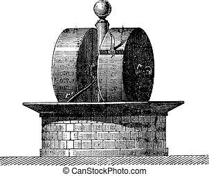 Factory wheels, vintage engraving. - Factory wheels, vintage...