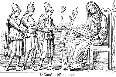Virgin and holy Magi, vintage engraving - Virgin and holy...