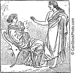 Greek husband, vintage engraving.