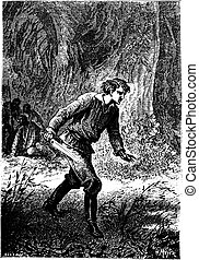 Dick Sand rushed, cutlass in hand, vintage engraving - Dick...