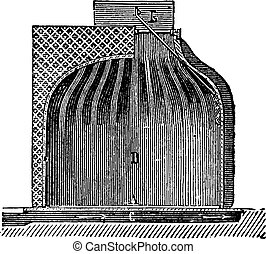 Fireplace chimney shell for ordinary, vintage engraving.
