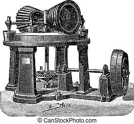 Threshing machine dough, vintage engraving.