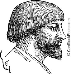 Man hairstyle, late tenth century, vintage engraving. - Man...