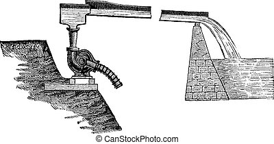 Centrifugal pump applied to a water supply reservoir, vintage engraving.