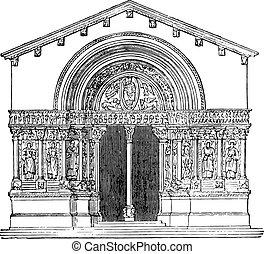 St. Trophime Church, Arles, vintage engraving.