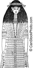 Egyptian garment. (On a mummy after painting), vintage engraving.