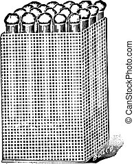 Test tube basket, made of tinned metal, for holding...