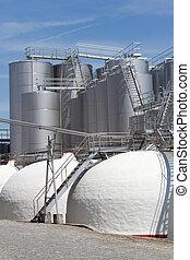 Wine industry in Portugal Wine metallic fermentation tanks...