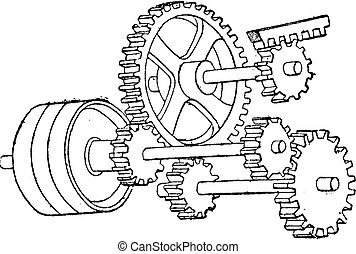 Available mechanism for the rapid return of the tool, vintage engraving.